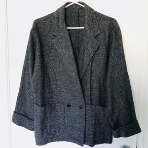 VINTAGE Gray Speckled Batwing Blazer 💯 Wool